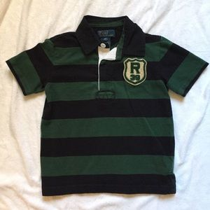 Ralph Lauren Green Striped Rugby Polo Shirt 4/4T